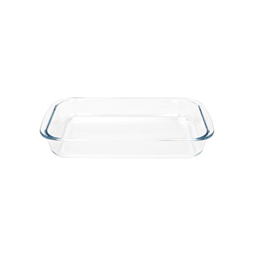 FOYO Basics Tempered Glass Baking Dish, 2 Quart Clear Oblong Dish Set, Casserole Dish Cooking Oven Bake