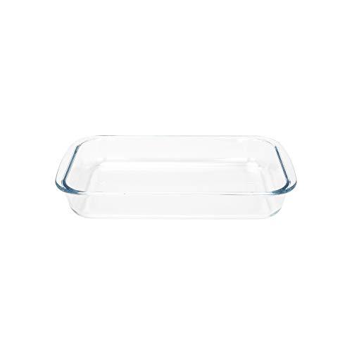 FOYO Basics Tempered Glass Baking Dish, 2 Quart Clear Oblong Dish Set, Casserole Dish Cooking Oven Bake