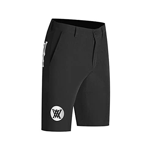 LGQ Herren Golf Shorts Leichte Stretch Golf Short Anti-Static, Anti-Mehltau Elastic Waist Golf Cargo Shorts mit Taschen,Schwarz,3XL