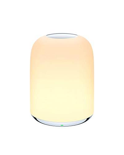 Lámpara de Mesa de Noche AUKEY, Luz Nocturna con Batería Recargable para Dormitorios, Luz Regulable 3000K – 6500K Blanca Cálida y RGB que Cambia de Color (Blanco)