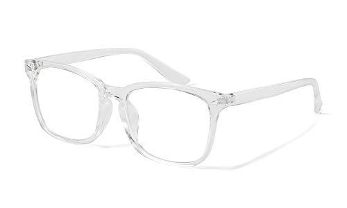 Effnny Bloqueo de luz azul Gafas anti fatiga filtro UV juegos de computadora monturas de gafas de lectura Para hombres mujeres 8082 (Transparente)