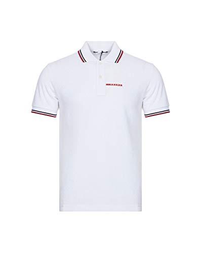 Prada Herren Poloshirt aus Baumwoll-Piqué, Kurze Ärmel, Slim Fit, Weiß SJJ887 - Weiß - Mittel