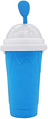DIY Slushy Maker Ice Cup Travel Portable Double Layer Silica Cup Pinch Cup Hot Summer Cooler Smoothie Silicon Cup Pinch into Ice Children's Adult Slushy Ice Cup (Blue)