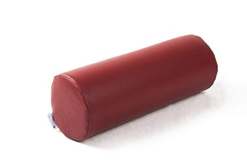 Schaumstoffrolle Nackenrolle Gymnastikrolle Lagerungsrolle Rolle aus Schaumstoff mit Bezug (Länge: 40cm Ø 11cm, Kunstleder Faro weinrot)