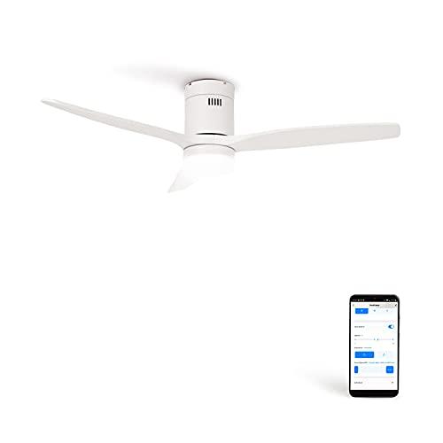 CREATE IKOHS WINDCALM DC STYLANCE - Ventilador de Techo Wifi, con Mando a Distancia, 3 Aspas, Potencia de 40W, Ultrasilencioso, 132 cm de Diametro, 6 Velocidades (con luz - blanco)