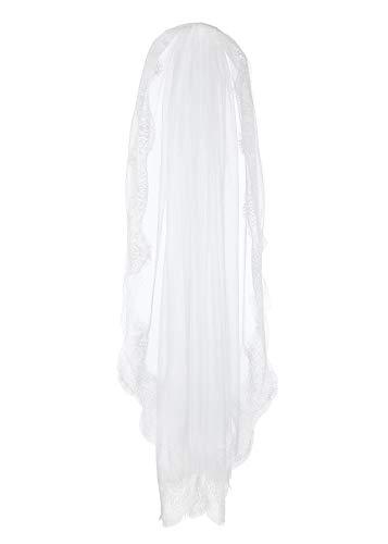 CHIC DIARY Brautschleier Weiß Spitzenborte Hochzeitskleid 1 Schicht Schleier mit Kamm Kurz für Hochzeit JGA Halloweenkostüm