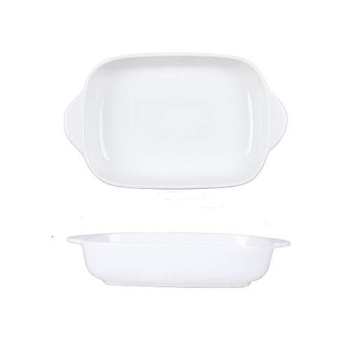 Fuente rectangular con doble asa, pequeña lasaña, para 1 persona, vajilla moderna para cocina, cena de tartas, banquetes y uso diario