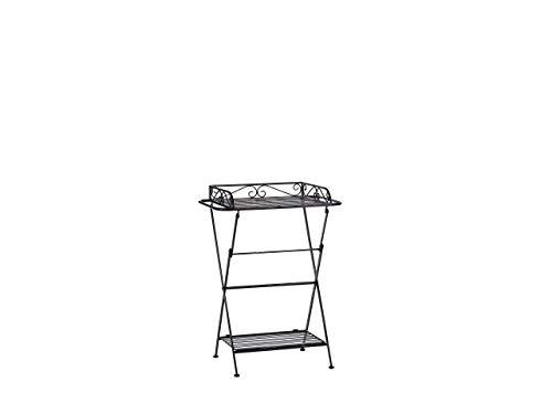 Beliani Side Table Black Metal Wire Top with Shelf Folding Ornate Victorian Ancud