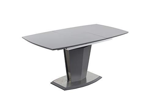 Meubletmoi - Mesa de comedor extensible 120/160 cm, rectangular gris y pie central de acero y MDF – Diseño contemporáneo – Dona