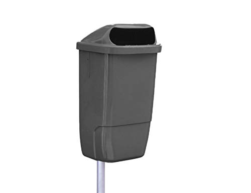 YMBERSA Papelera plástico Especial Exterior Gris. Capacidad 50 Lt