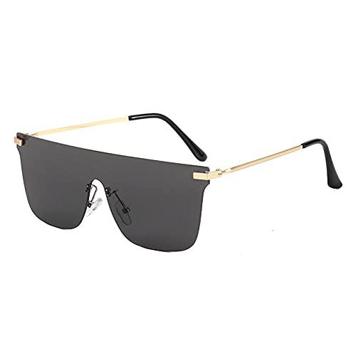 Gosunfly Gafas de sol de metal para hombre, sin marco, para exteriores, con recorte, escamas grises enteras