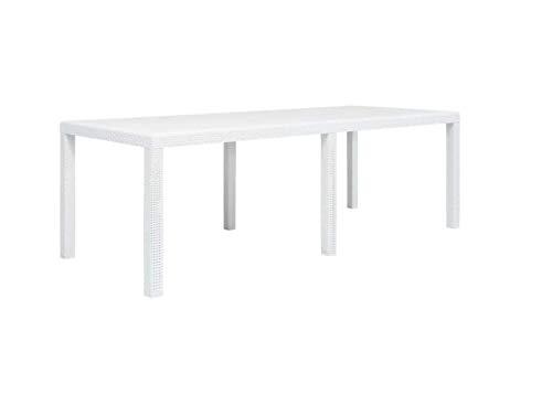 tavolo da giardino Tomaino Tavolo da Giardino allungabile in plastica Rattan 150/220 x 90 x 72h cm (Bianco)