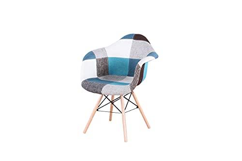 WV LeisureMaster Lot de 2 chaises patchwork scandinave Wiener et médiéval pour salon et salle à manger