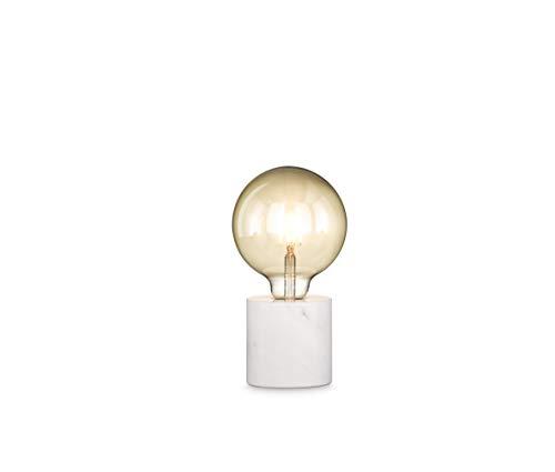 loxomo - Lámpara de mesa redonda, diámetro de 9 x 9 cm, lámpara de mesa con casquillo E27, hasta máx. 60 W, lámpara decorativa para bombillas Edison retro industrial, IP20
