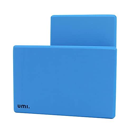 Umi Amazon Brand Blocco Yoga in Schiuma Eva ad Alta densità, Blocco Yoga Elasticizzato con Supporto Flessibile (Blu Viola Rosa, Due Pezzi) - 305 × 205 × 50 mm