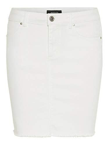 PIECES Damen Minirock Jeans XSBright White