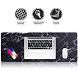 Insten Extra Large Mouse Pad, Marble Extended Computer Mouse Pad XL XXL for Desktop, with Waterproof Coating, Non-Slip Base, Silky Smooth Surface, Durable Stitched Edges - 31.5' X 12', Black Marble