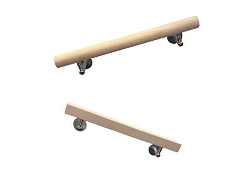 Corrimano in legno di faggio rotondo o quadrato con supporto in acciaio inox, naturale (faggio rotondo, 500 mm)