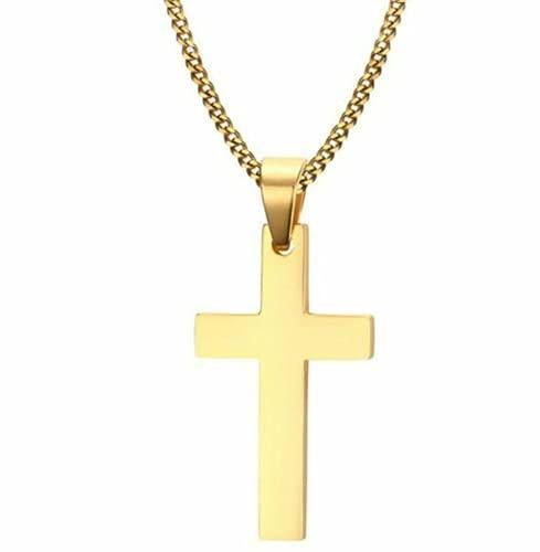 Collar con Colgante De Cruz Acero Inoxidable Plata Oro Crucifijo Hombres Mujeres Cubano, Nacimiento/San Valentín (Gold)