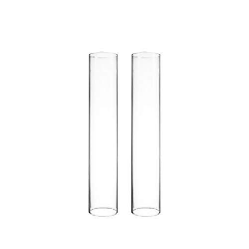 CYS EXCEL 2 PCS (H:14' D:2.5') Glass Hurricane Candleholder Tube Shade | Multiple Size Choices Open Flame Candle Chimney Tube Cover | Open Ended Cylinder
