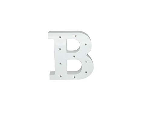 Letra blanca decorativa con luz LED blanca (madera) (B)