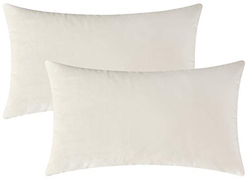 Mixhug Set of 2 Cozy Velvet Rectangle Decorative Throw Pillow Covers for Couch and Bed, Cream, 12 x 20 Inches