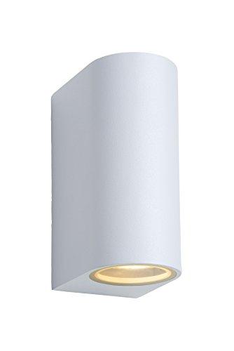 Lucide ZORA-LED - Spot Mural Extérieur - LED Dim. - GU10 - 2x5W 3000K - IP44 - Blanc