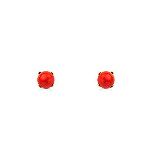 Monde Petit T1777P - Pendientes de bebe/niña oro 18 kts. patillas coral fino 5 mm.