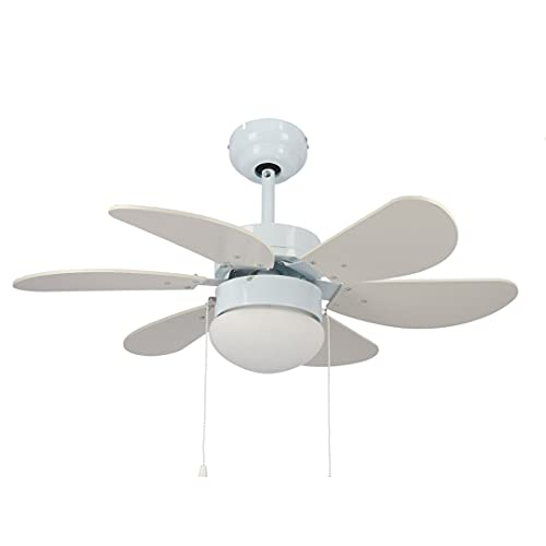 978934 - Ventilador de techo con luz 70W 81CM LED 12W,Ventilador de techo con luz, 6 aspas,silencioso, 3 velocidades de ventilación