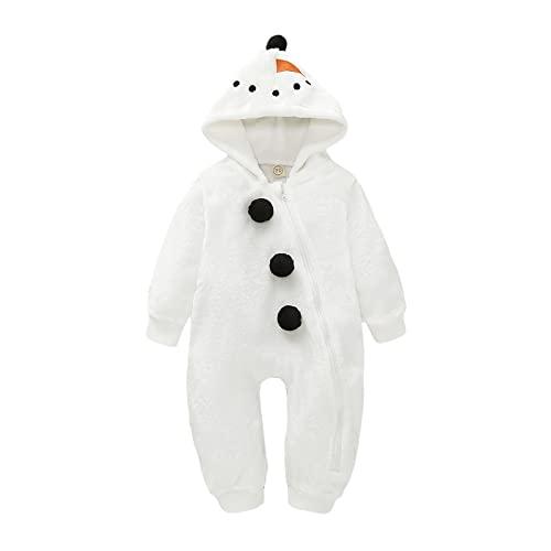 Shaohan Pagliaccetto per neonati, con cappuccio, pigiama di Natale in velluto, a maniche lunghe, bianco, 12-18 Meses