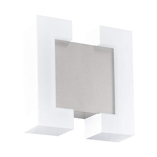 EGLO LED Außen-Wandlampe Sitia, 2 flammige Außenleuchte, Wandleuchte aus verzinktem Stahl und Kunststoff, Farbe: Nickel-matt, weiß, IP44