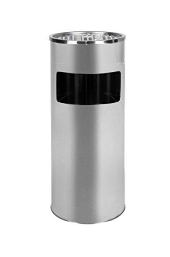 Standaschenbecher mit Mülleimer Edelstahl 61cm 30L Silber