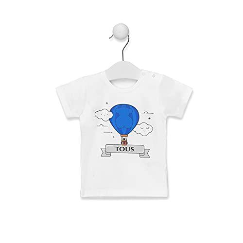 TOUS BABY - Camiseta Manga Corta con Estampado Central Globo para tu Bebé. Colores: Rosa y Celeste (1 a 18 Meses) (Celeste, 1-3 Meses)