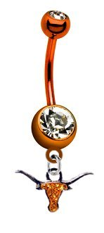 "Texas Longhorns ""Glitter"" PREMIUM Orange Titanium Anodized Sexy Belly Button Navel Ring"