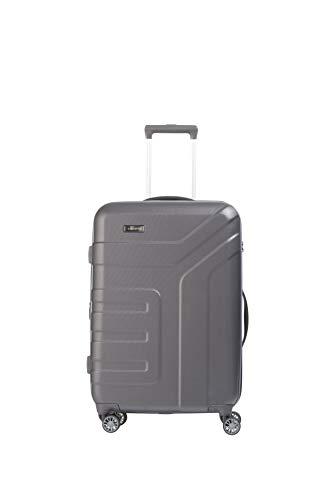 travelite 4-Rad Koffer Größe M mit Dehnfalte + TSA Schloss, Gepäck Serie VECTOR: Robuster Hartschalen Trolley in stylischen Farben, 072048-04, 70 cm, 79 Liter (erweiterbar auf 91 Liter), anthrazit