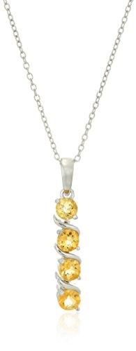 Sterling Silver Genuine Citrine Four Stone Pendant Necklace, 18
