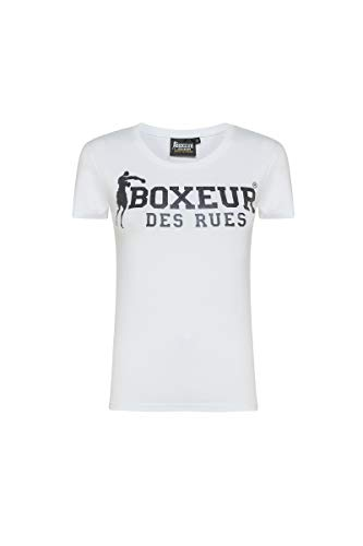 BOXEUR DES RUES - Tshirt Girocollo Bianca con Stampa Frontale Nera in Glitter Gel, Donna, White-Black, S