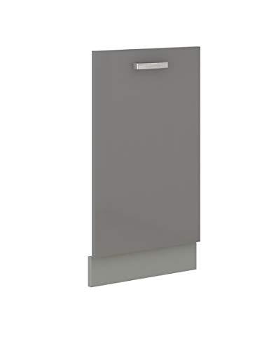 Küchen-Preisbombe Frontblende für vollintegrierten Geschirrspüler 45 cm Grey Hochglanz Grau Vario