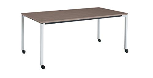 コクヨ ミーティングテーブル JUTO MT-JTK189S81MG5-CN 角形天板 4本脚 角脚 スクエアコーナー 幅180×奥行90cm 天板アッシュブラウン/脚フラットシルバー キャスター付