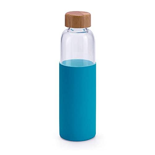 Botella de Vidrio Borosilicato Reutilizable | Silicona Antideslizante y Cierre de Bambú | Capacidad de 600 ml. (Azul Turquesa)