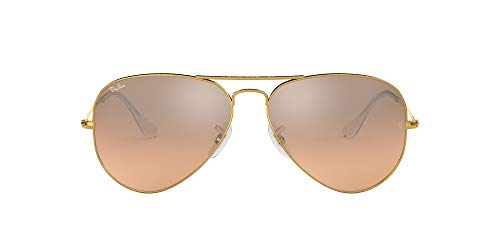 Ray-Ban Aviator Large Metal, Gafas de Sol Unisex Adulto, Transparente (Crystal Brown & Pink Silver Mirror), 58