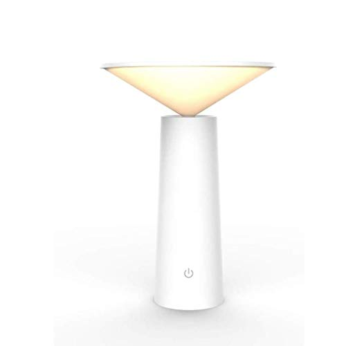 SPNEC lámpara de Mesa, Escritorio LED Regulable Protección de los Ojos lámpara de Mesa Lámparas de Lectura de Carga USB Fixture Luces Blancas Negro Decorativo (Color : White)