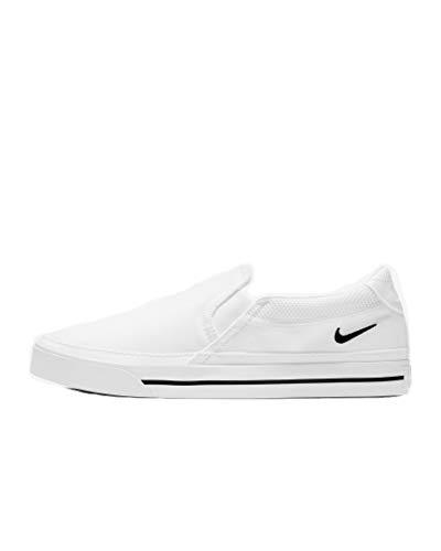 Nike Women's Court Legacy Slip On Sneakers White Black Size 7.5