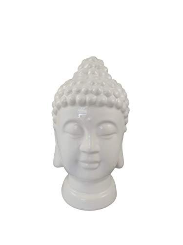 | Bumbar Wunderschöner Buddha-Kopf Weiß, Keramik, Feng Shui, Meditation, Deko, Dekoration Joga, Figuren, Skulpturen (Buddha-KopfWeiß23cm)