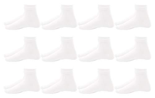 Poligono Calcetines para Hombre y Mujer, Calcetines Deportivos de Algodón Suave, Calcetines Cortos Transpirables, Ideales para Uso Diario y Actividades Deportivas, Blanco, Paquete de 12, EU 40-46
