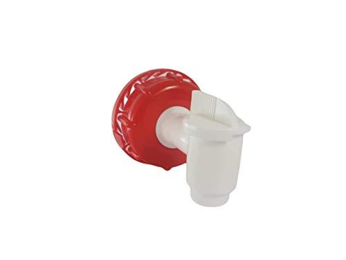 Tapón Grifo Para Envases de 10-20 y 25 litros Rosca 60 mm, Apto uso Alimentario, Polietileno Blanco y Rojo Fácil de Usar Resistente Disolventes y Gasolina