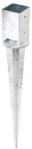 GAH-Alberts 208134 Einschlag-Bodenhülse | für Vierkantholzpfosten, mit verstellbarem Topf | feuerverzinkt | 91 x 91 mm | Gesamtlänge 900 mm