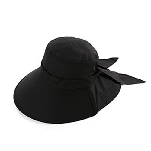 LIHUAN Sombrero De Playa Plegable con Visera Anti-Ultravioleta De Verano para Mujer,Black