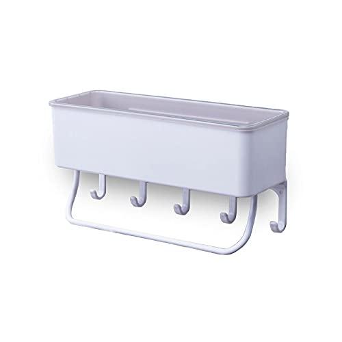 タオル掛け付き収納ラック 壁を痛めない粘着式シール キッチン 浴室ラック シャワーラック 洗面所ラック (ホワイト)