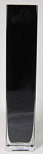 INNA-Glas Bodenvase Leon, Quader - viereckig, schwarz, 10x10x50cm - Eckige Vase - Deko Vase